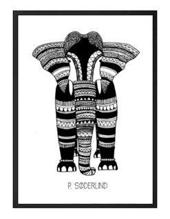 Håndtegnet illustration med grafisk illustration af elefant