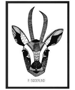 Håndtegnet plakat af grafisk dyremotiv