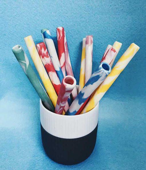Keramik sugerør i forskellige farver