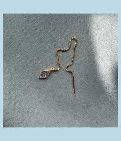 tynd guldkæde med harlequin vedhæng med knuste krystaller