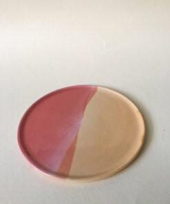 keramik tallerken hånddrejet hos Landskabt i varm gul og orange
