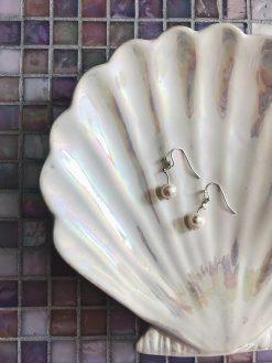 """Håndlavede elegante """"Twist øreringe"""" med ægte ferskvandsperler i sølv"""