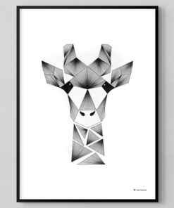 grafisk plakat af giraf lavet med tynde sorte streger