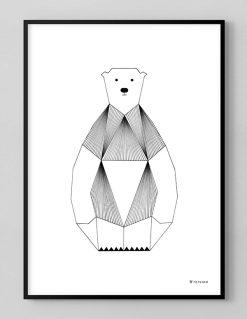 grafisk plakat af Isbjørn med sorte tynde streger