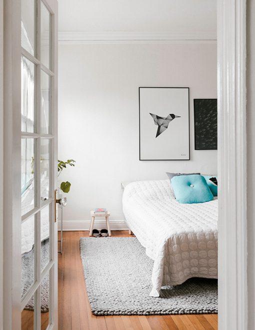 grafisk illustration af kolibri set i soverælset