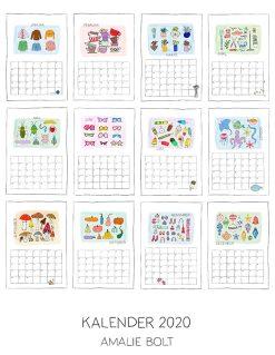 Amalie Bolts 2020 Kalender overview over indhold