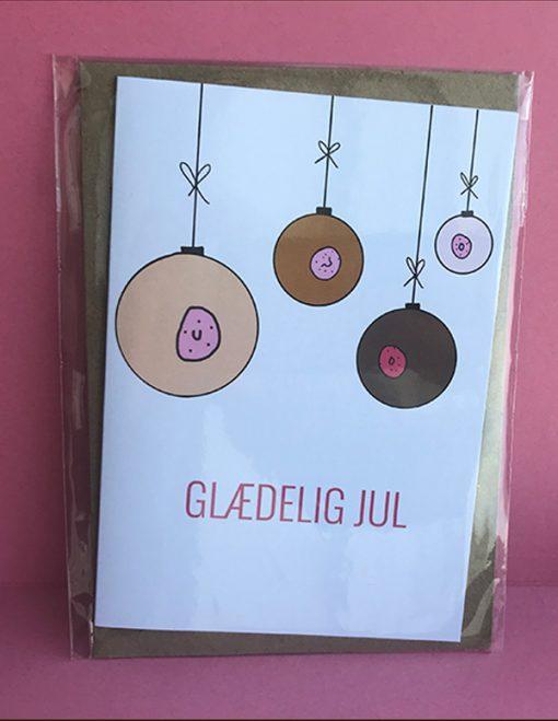 Julekort fra Glittergrej med kvindelige julekugler i forskellige farver