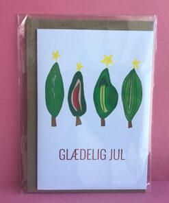julekort fra Glittergrej med grønne kvindelige juletræer