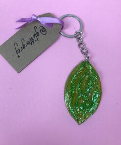 Limegrøn glitternøglering fra Glittergrej med grøn glimmer