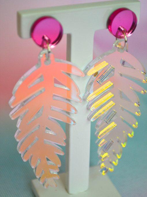 unicorn Plexiglas øreringe formet som fine bregner fra Saisall