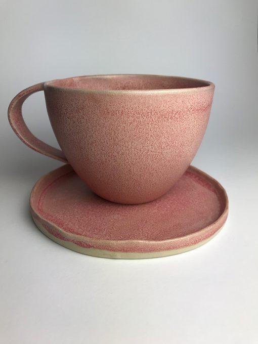 Kaffe kop med underkop/tallerken i fin spættet lyserød