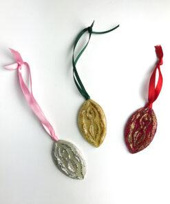 vulva-julepunt fra Glittergrej i forskellige farver