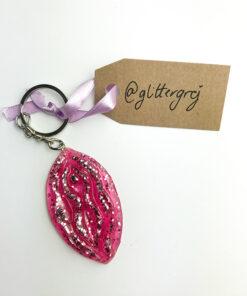 Nøglering i lyserød med lyserød glitter fra Glittergrej