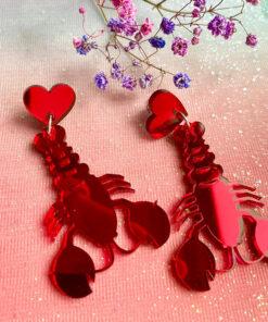 Røde hummer øreringe med hjerte vedhæng perfekte love lobsters til valentines dag