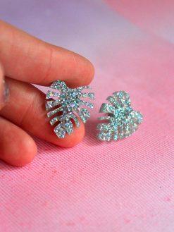 mini monstera I plexiglas I sølv glitter