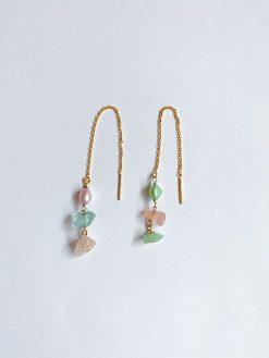 Øreringe på kæder og natur sten i forskellige farve fra Nuance Jewellery