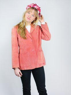 Laksefarvet vintage blazer i ruskind